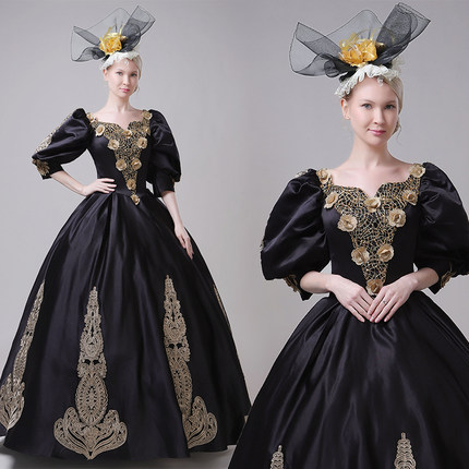 100%real masquerade black embroidery court medieval dress renaissance Gown queen Victorian /Marie/ Belle Ball/drama/ball gown