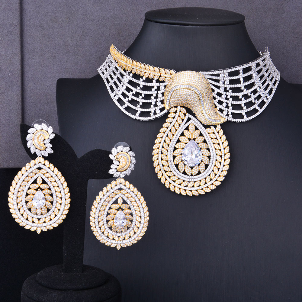 GODKI Super Luxury Floral Flower Women Wedding Cubic Zirconia Choker Necklace Earring Dubai Jewelry Set Jewellery Addict rhinestoned floral wide choker