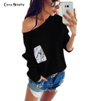 Cova Sophy Large Size Autumn Winter Tops Casual Loose Gray Black Sequins Stitching T Shirt Long