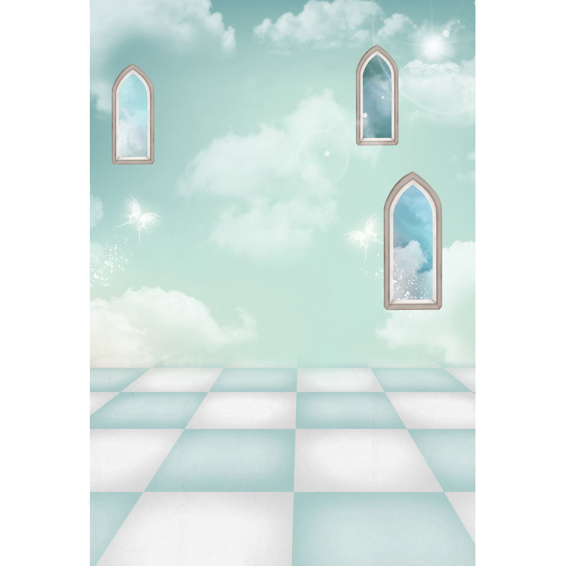 Seamless Vinyl Photography Backdrop Green Room Clouds Window Computer Printed Children Backgrounds for Photo Studio F-3200