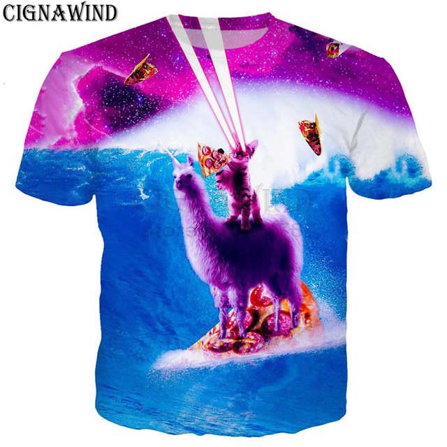 9976440d9bf08 US $9.79 30% OFF|Fashion funny t shirt men/women Space Sloth/cat Riding  Llama Unicorn 3D print t shirts Harajuku style tshirt streetwear tops-in ...