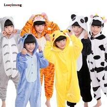 Купить с кэшбэком Kids Girls Kigurumi Panda Blanket Overalls Jumpsuit Children Animal Unicorn Pajamas Onesie Cosplay Boys Baby Sleepwear Sleepers