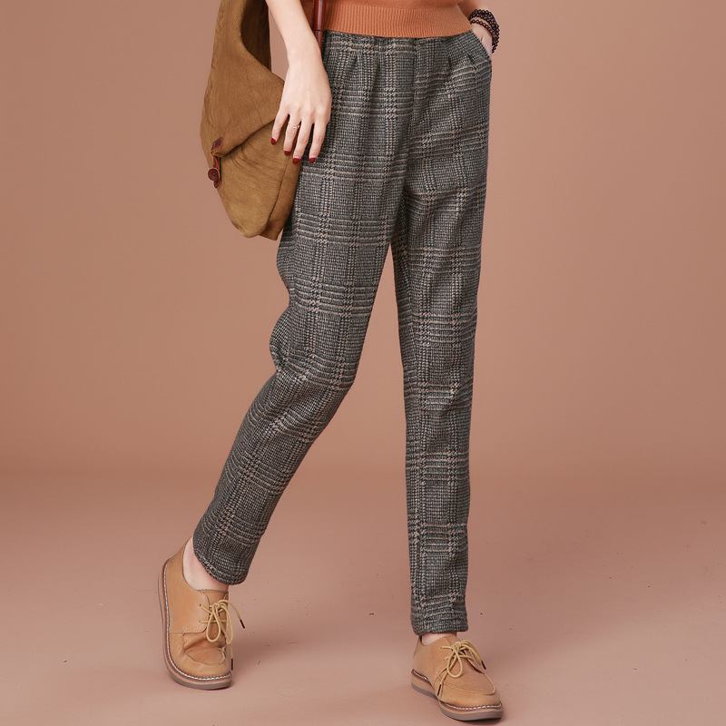 women winter warm   Pants   casual lattic Plaid Wool   capris   harem   pants   long trousers plus size pantalon femme pantalon femme