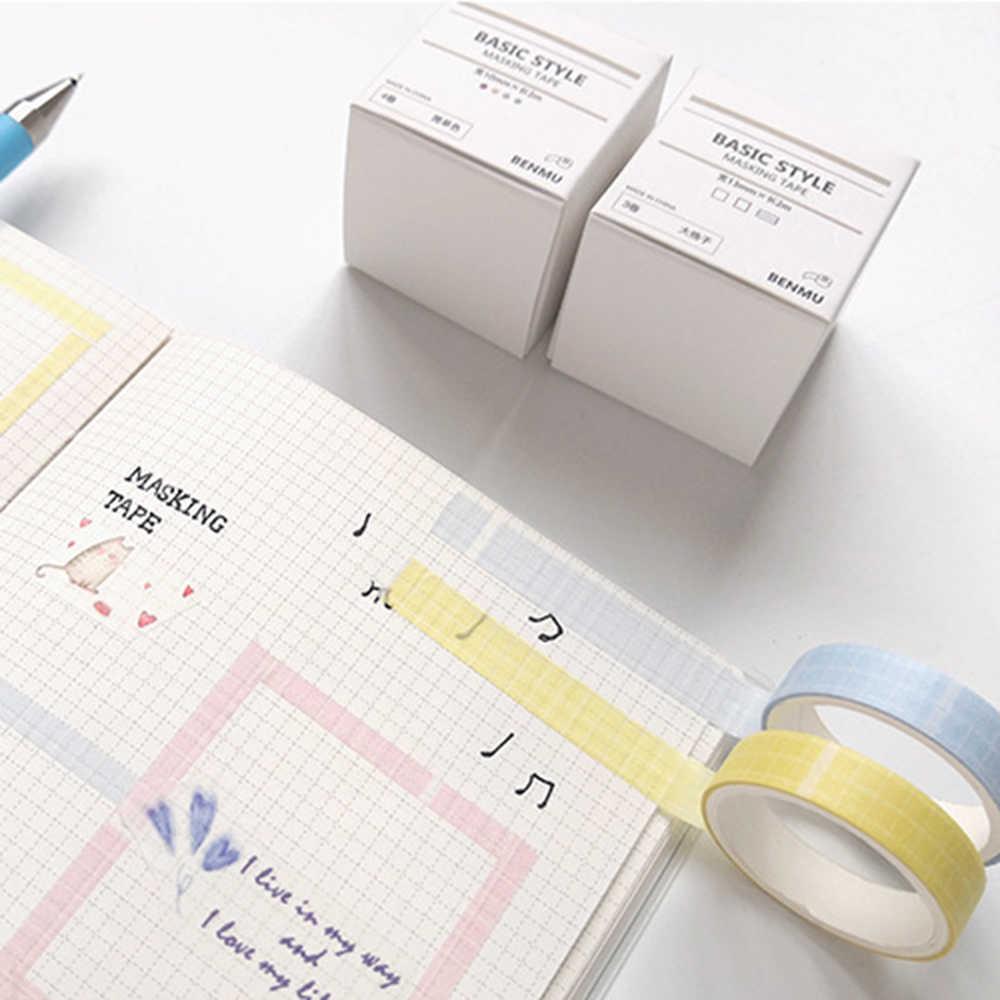 Juego de cinta Washi Color puro rejilla estilo básico creativo DIY Scrapbooking etiqueta adhesiva cinta adhesiva escuela Oficina suministro