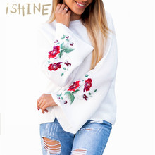 Women Knitted Pullover Embroidery Sweater Autumn Winter Fashion Casual Round Neck Flare Sleeve Sweater Loose Streetwear Jumpers