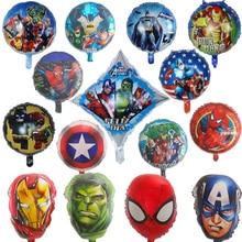 3pcs 18inch Spiderman foil Balloons Avengers Batman iron Man balloon Birthday Party decoration Super Hero Air Balloon kids Toys