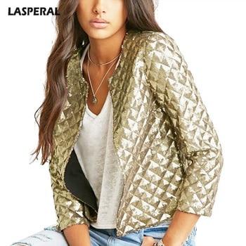 LASPERAL moda mujer oro lentejuelas chaquetas ropa de calle cárdigan ...