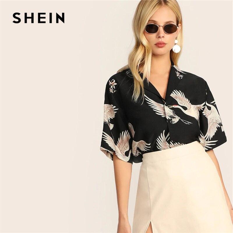 SHEIN Crane Print Revere Collar Shirt Boho Black Notched Button Knot 2019 Summer Blouse Half Sleeve Women Clothing Blouses