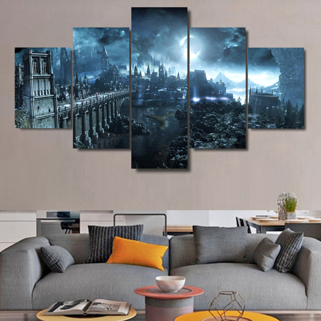 Modern Frames For Painting 5 Panel Dark Souls Castle Modular Cheap Pictures Wall  Art For Living