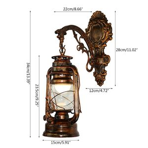 Image 2 - Vintage LED Wall Lamp Barn Lantern Retro Kerosene Wall Light European Antique Style WF4458037