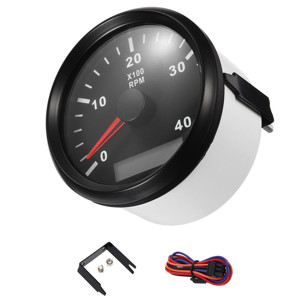 85 mm Waterproof 4000 RPM / 6000 RPM Marine Tachometer Gauge 9~32V RPM Tachometer Gauge With LCD Hour Meter fit Boat Car kus marine outboard tachometer with led hourmeter boat truck car rv waterproof rpm meter 6000 rpm 85mm speed ration 1 10