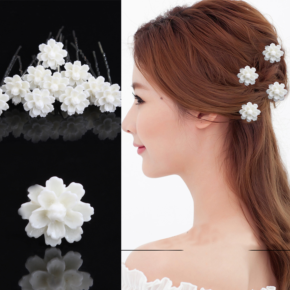 12 Pcs NEW Women White Flower Silver Plated Wedding Prom Party Bridal Hair Pins Hair Accessory ...