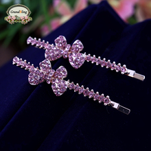 2016 Female Sweet Girl Bling Crystal Rhinestone Headwear Bowknot Barrette Hairpin Hairgrips Ornament Accessories For Woman Gift