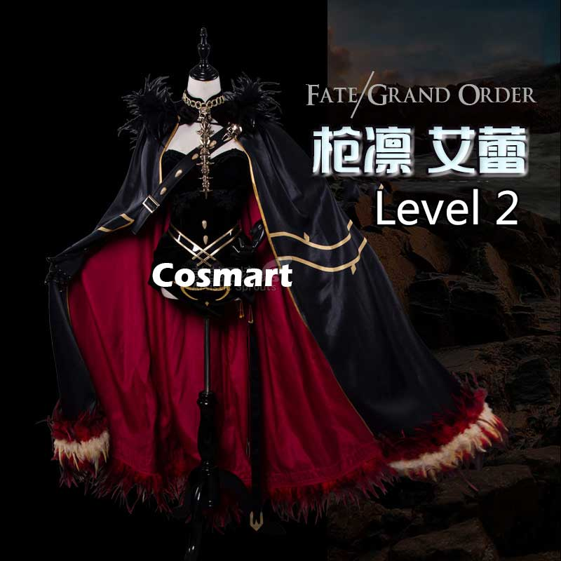 Anim Fate Grand Order FGO Ereshkigal Luxuriant Cloak Dress Embroidered Pattern Level 1 Level 2 Uniform Cosplay Costume Halloween