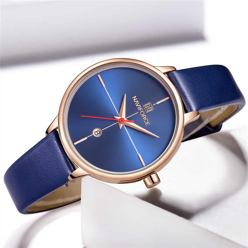 NAVIFORCE נשים לצפות אופנה קוורץ ליידי כחול PU רצועת השעון תאריך מקרית 3ATM עמיד למים שעוני יד מתנה עבור ילדה אשת אישה 2019