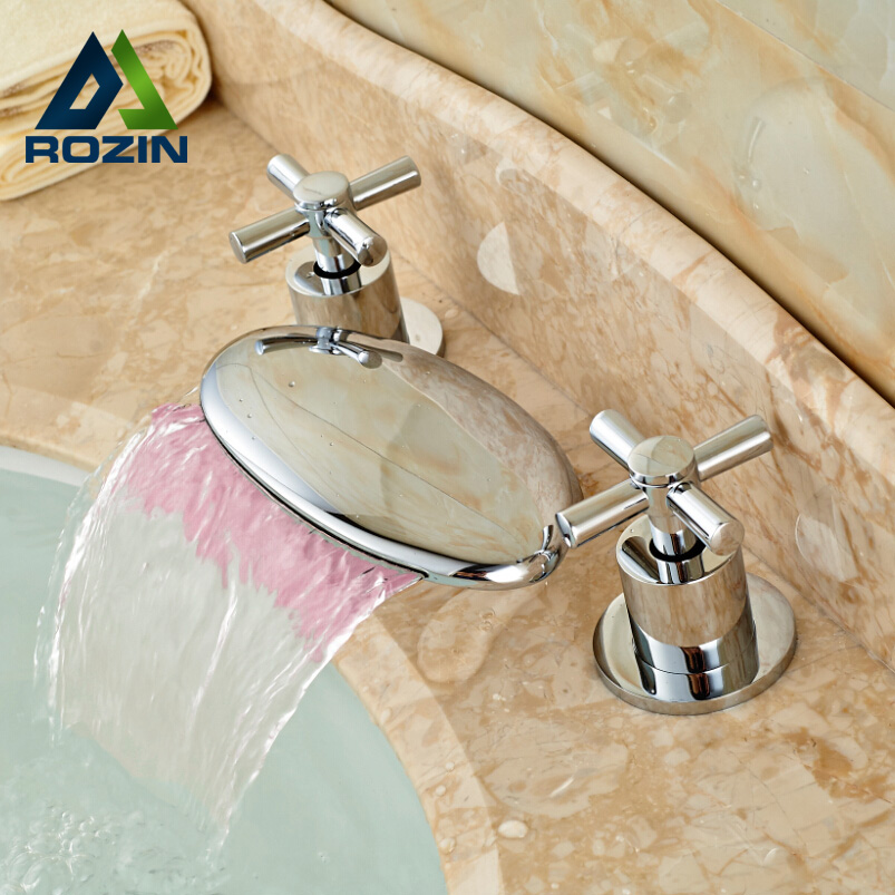 ФОТО Luxury Waterfall Spout Basin Lavatory Sink Faucet Widespread Dual Handles Mixer Tap Deck Mount Chrome Finish