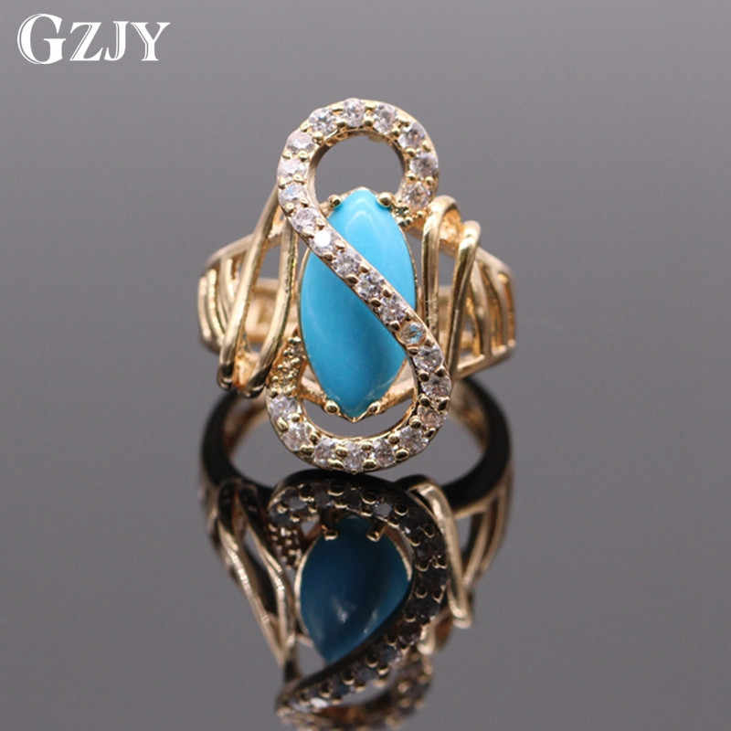 GZJY Fashion Graceful Blue Stone Cubic Zirconia Ring Gold Color Wedding Rings For Women Party Jewelry