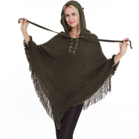 Tassel Capes Knitted Hooded Women Poncho Hole Shawls Scarves Wraps Female Loose Hollow Out Winter Scarf Lace Up Sweatshirt g7