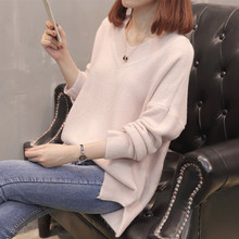 Fashion Autumn Winter V-neck Knitted Sweater Women Long Sleeve Loose Pink Pullover Female Soft Warm Casual  Jumper casual women loose shirt dress mini batwing long sleeve jumper loose sweater winter dresses pink ladies casual pullover vestido