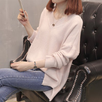Fashion Autumn Winter V neck Knitted Sweater Women Long Sleeve Loose Pink Pullover Female Soft Warm Casual Jumper