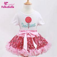 SME DHL LIBERA il Trasporto Delle Neonate Nuova Rosa Del Fumetto Paillettes 2 pz maglietta del vestito Da Promenade insieme del pannello esterno di Stile di estate outfit Vestito Di Compleanno