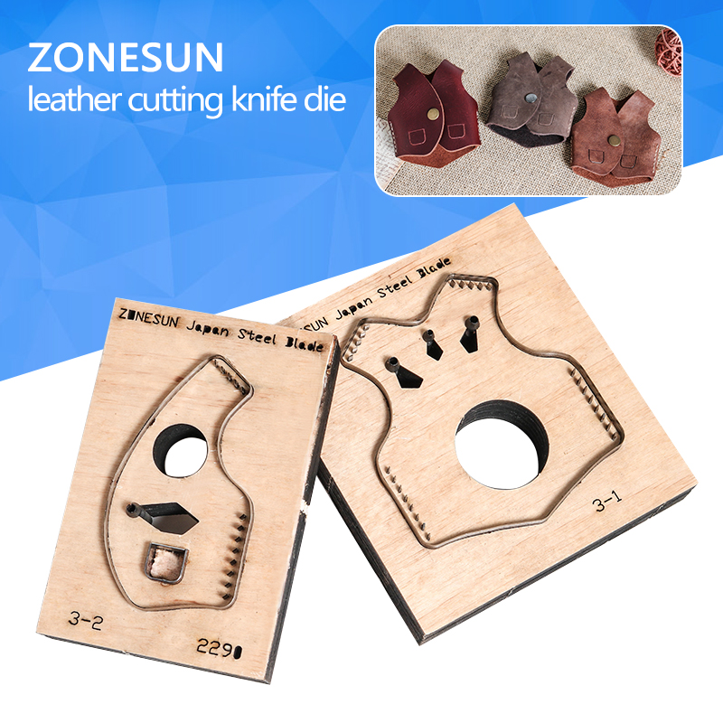 ZONESUN V2 key fob vest shape key cover leather cutting die Japan steel Blade cutter mold DIY laser knife die cutting machine diy rectangular lattice pattern metal stencil plate carbon steel cutting die