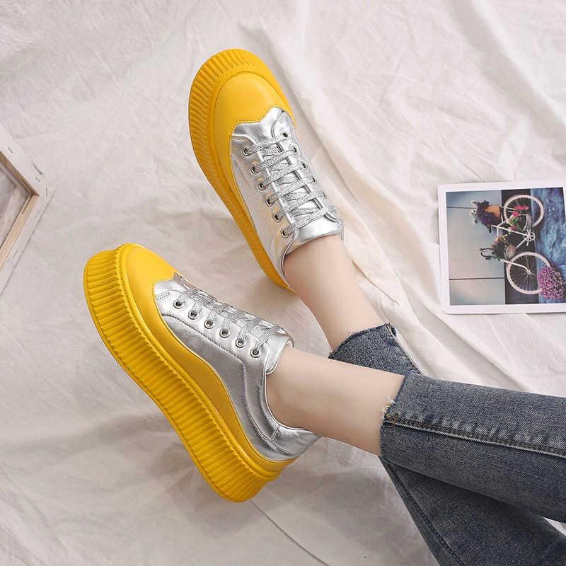 Zapatillas mujer 2019 gelb rot Mode mischfarben schuhe frauen turnschuhe pailletten dicken boden tenis feminino MS-80