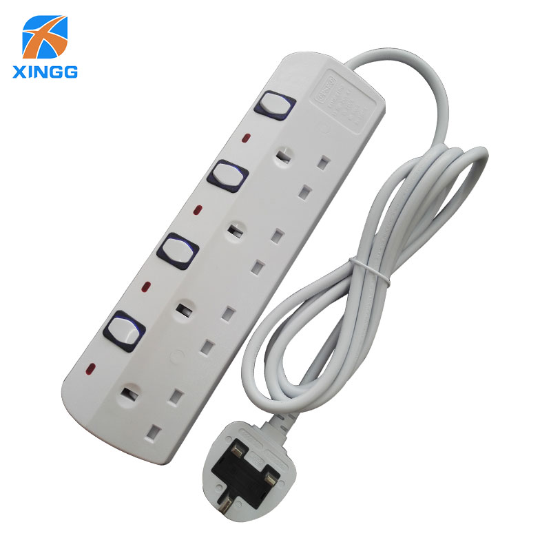 Uk Multiple Power Strip Plug With Individual Switches Extension