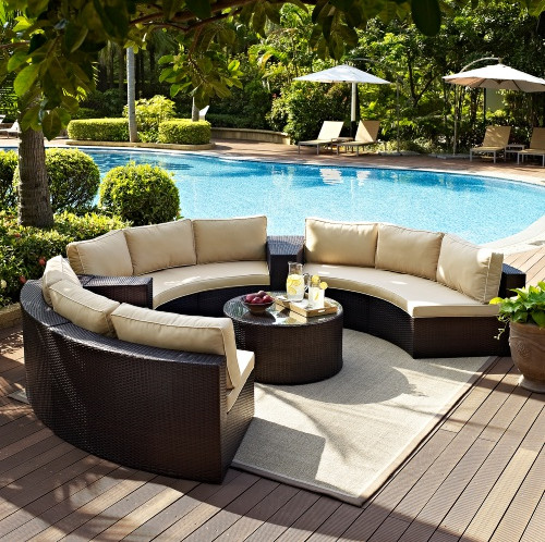 Factory Direct Sale Outdoor Lounge Furniture 6 Piece Wicker Curved  Conversation Sofa Set In Garden Sofas