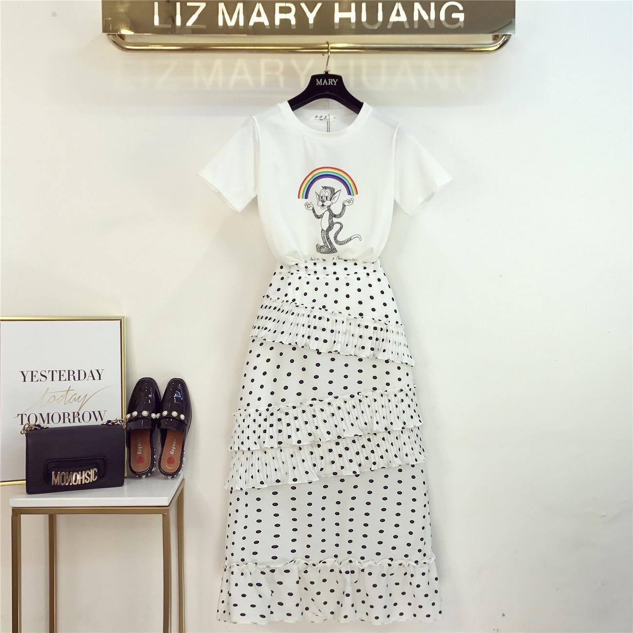 Longue robe femmes 2019 été nouveau Hit arc-en-ciel dessin animé T-shirt + vague Dot Chic gâteau jupe deux dames filles jupes ensemble Vestidos