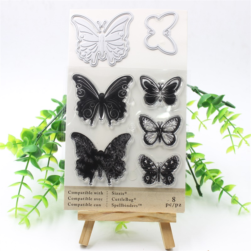 KSCRAFT Butterfly Cutting Dies Stencils And Stamp for DIY Scrapbooking Stamp/photo album Decorative Embossing DIY Paper Cards afternoon tea metal cutting dies and stamp stencils for diy scrapbooking decorative embossing diy paper cards making a559