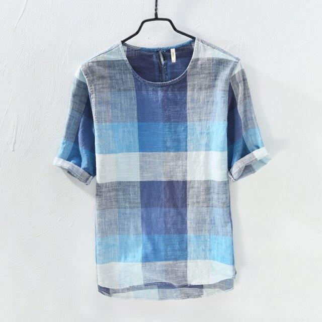2018 Summer new cotton and linen art plaid men shirt loose retro fashion shirt mens short sleeve flax shirt men camisa masculina