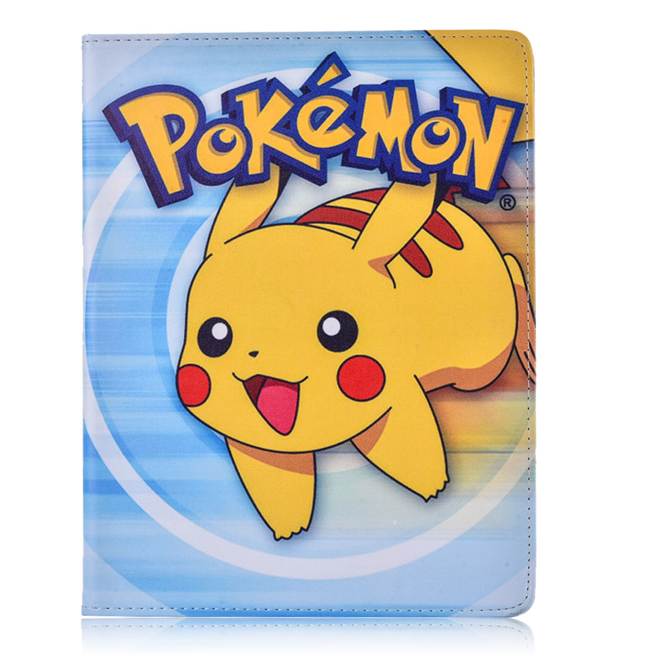 Case for Apple ipad 6 / ipad Air 2 Pokemon Go cute Pikachu tablet PU leather Cover Flip stand shell coque para coque fundas for apple ipad air ii 2 pu leather stand luxury new cover case for ipad 6 a1566 a1567 9 7 inch cartton wallet shell