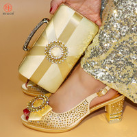 Gold Color Italian Shoes with Matching Bag Set Decorated with Appliques African Women wedge Shoes and Bag Set for Wedding Party