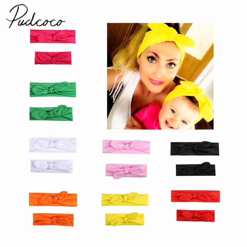 2018 Brand New 2Pcs Mama Baby Girl Elastic Bow Knotted Turban Hair Band Headband Headwear Solid Bowknot Headband