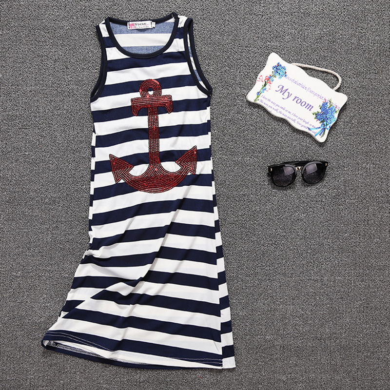 2017 Summer Outfits Mother Daughter Dresses Stripe Anchor Pattern Dress Family Kits Matching Mother Daughter Clothes