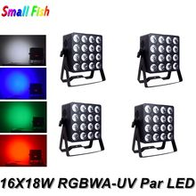 Sound Party Lights LED Flat Par 16X18W RGBWA-UV 6IN1 LED Par Light LED Wash Light Music For Night Club Light Party Effect Disco