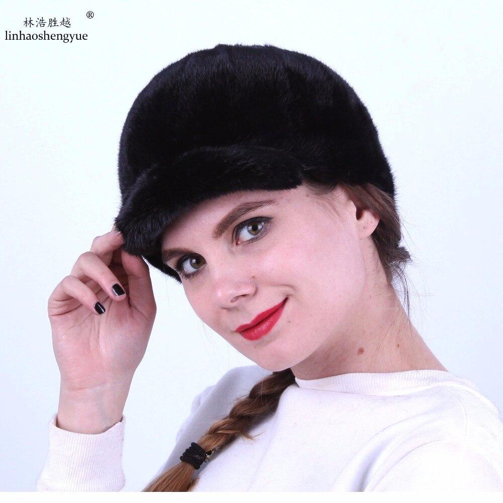 Linhaoshengyue moda mujeres visón piel cap mujeres real visón piel  caballeros cap invierno 46c80f6fa17