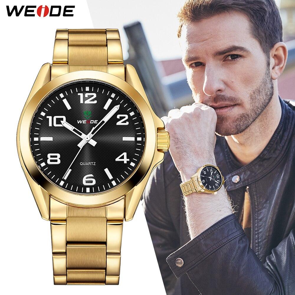 WEIDE superior de la marca de lujo de los hombres de negocios analógico de cuarzo de acero inoxidable correa de muñeca relojes reloj Masculino reloj Bvlgari horas