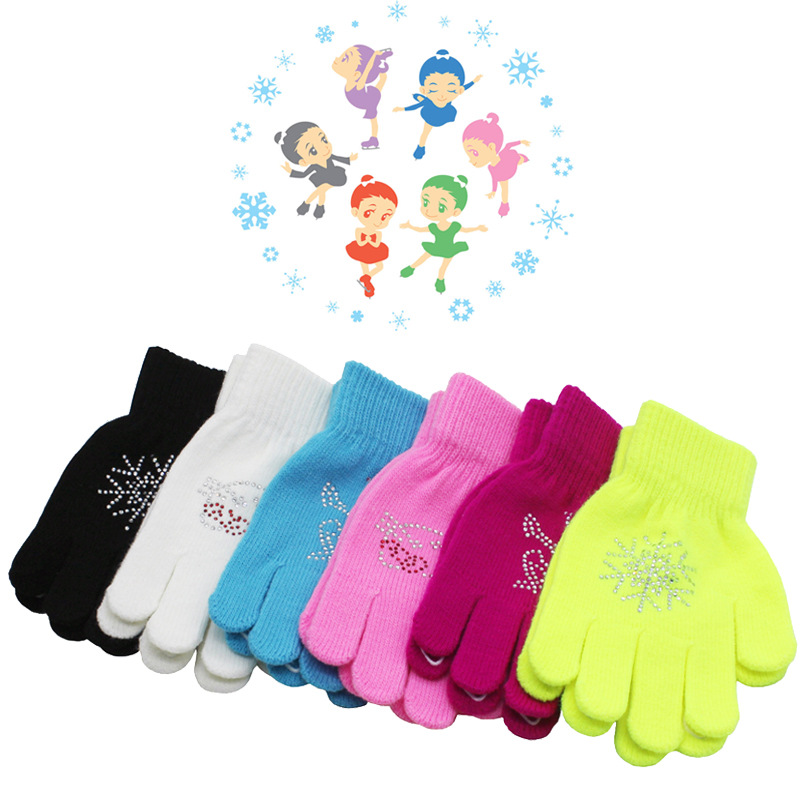 Colorful Cat Magic Figure Skating Wrist Gloves Training Warm Hand Protector Thermal Thicken For Kids Rhinestone Glue Non-slip
