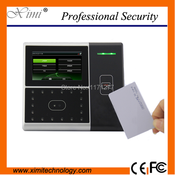 Free shipping RS232/485 communication  infrared camera 4.3TFT touch screen ID card reader face card time attendance machine