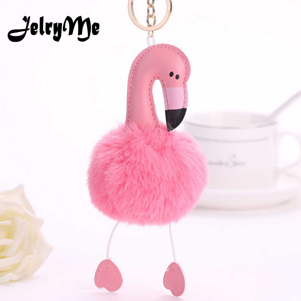 Desenhos Animados do Kawaii Flamingo Pingentes Chaveiro Chaveiro Para As Mulheres Meninas Saco da Pele Do Falso Fofo Bola Pompom Pom Pom do Anel Chave de Cadeia jóias