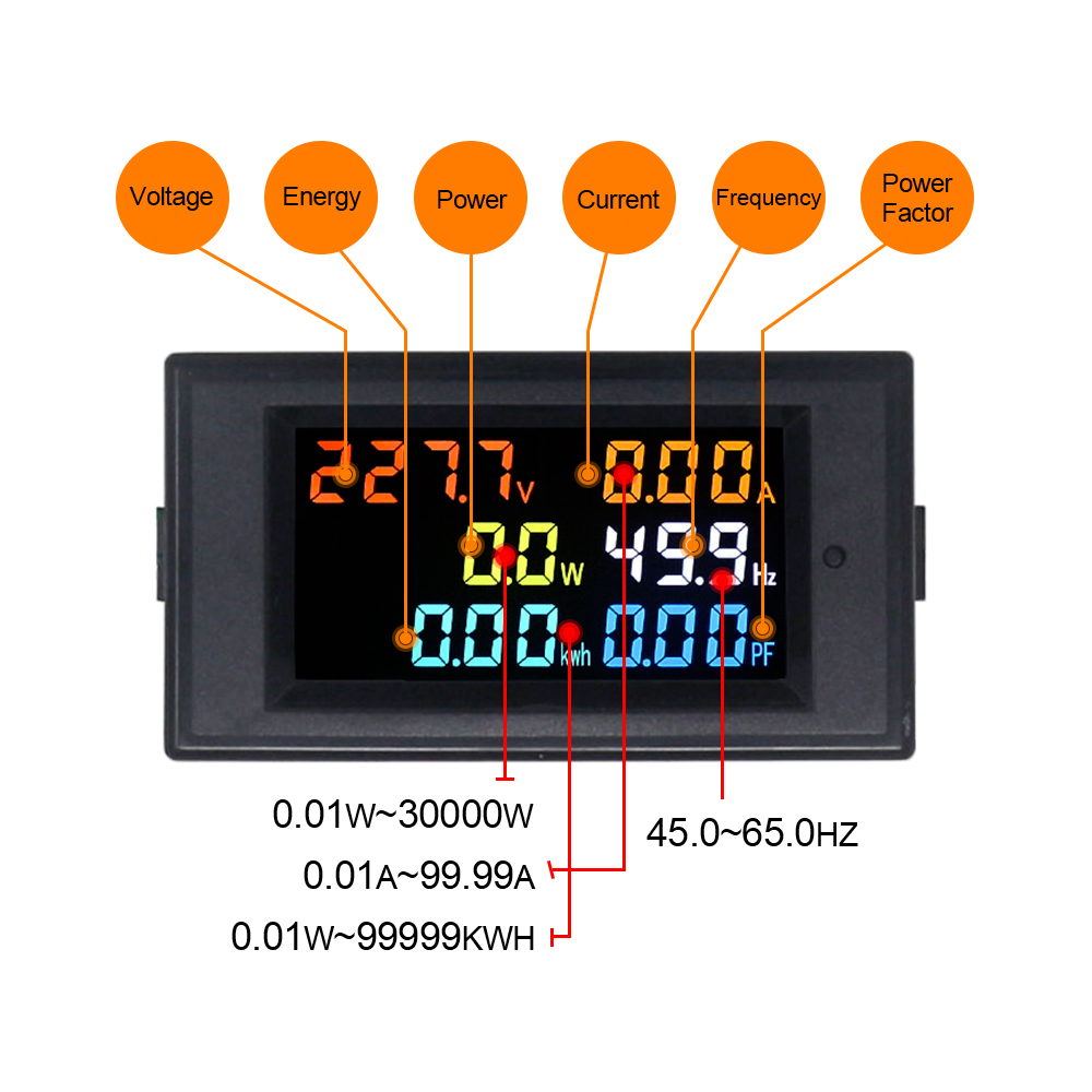 Digital AC80.0-300.0V 0.01-100A Voltmeter Ammeter Power Energy Frequency PF Meter High Accuracy Volt Amp Meter Monitor HD Screen