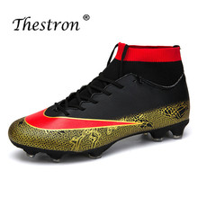 Thestron Mens Cleats Football Long Spike Boots Orange White Soccer Shoes For Artificial Turf Outdoor Men
