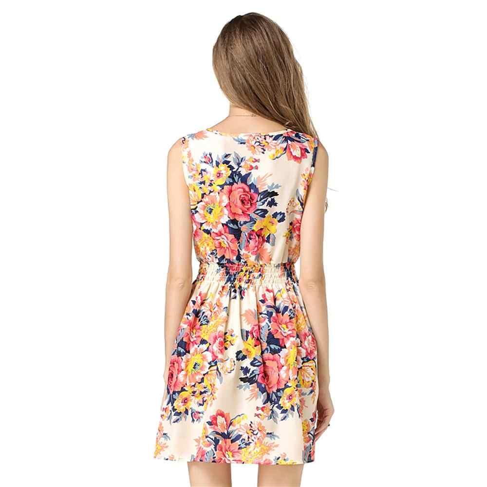 2019 повседневное летнее шифоновое платье Женская сексуальная одежда цветочный короткое пляжное платье корейское элегантное женское платье