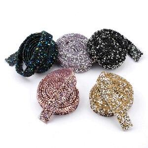 Image 2 - QIAO 1yard/rulo 1.5cm moda taklidi bant Trim reçine kristal dekorasyon için kırpma DIY ayakkabı bantlama konfeksiyon şapka parlak
