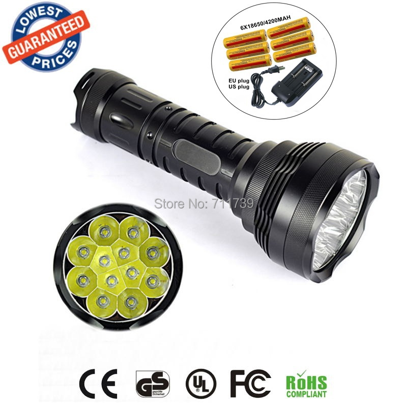 AloneFire 12T6 LED flashlight Flashlight 12x Cree XML T6 13000LM Super bright Led Flashlight Lantern+18650 battery+charger zoomable led flashlight cree xml t6 zoom torchlight handheld searchlight 3 x 18650 battery charger spotlight emergency tool work