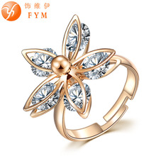 FYM New Luxury Classic Ring Flower Gold Color Zircon Crystal Fashion Women CZ Diamond Finger Rings for Party Gift Wedding new classic luxury fashion ring 4 valve flower gold color crystal adjusted ring women cz diamond finger rings for party wedding