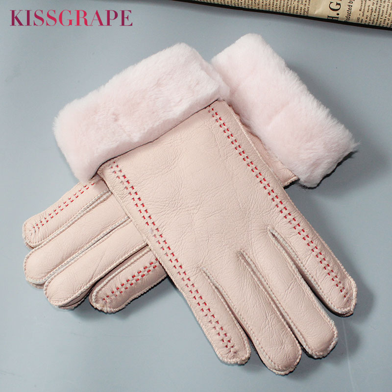 Super Warm Women's Genuine Leather Sheepskin Gloves Winter Female Outdoor Ski Motorcycle Gloves Ladies Sheep Fur Gloves Finger