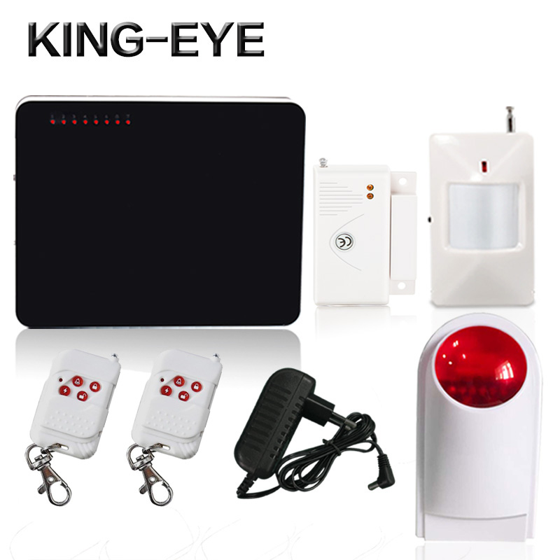 ФОТО 433mhz quad band wireless gsm alarm system home security wireless red flash strobe siren PIR infrared sensor anti-burglar alarm